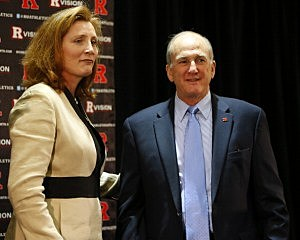 Rutgers University President Robert L. Barchi (R) introduces Julie Hermann as Rutgers University athletic director
