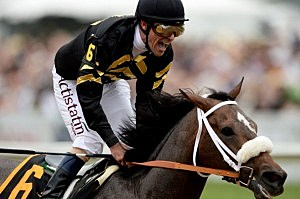 Gary Stevens celebrates atop of Oxbow #6 after crossing the finish line to win the 138th running of the Preakness Stakes at Pimlico Race Course
