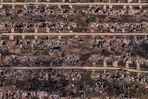 An aerial view of destroyed houses and buildings in Moore, Oklahoma