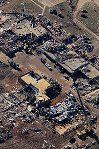 An aerial view of the Plaza Tower elementary school after a powerful tornado ripped through Moore, Okalhoma