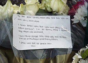 Flowers lay outside Woolwich Barracks on May 23, 2013 in London, England