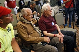 Dave Rice (L), 84, of Petaluma, California and Dave Knapp (R), 86, of Guilford, Connecticut listen at a news conference
