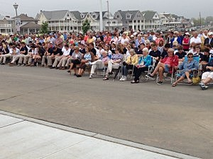 Hundreds of locals watch the official reopening of Belmar's boardwalk