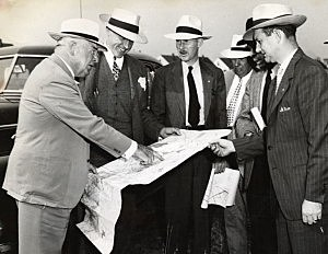 NJ Gov. Walter E. Edge inspects line of New Jersey's first Parkway Route 4, August 22, 1946. (NJ State Archives/ DOT Collection)