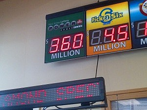 Powerball jackpot is displayed at Quick Chek in Lawrenceville