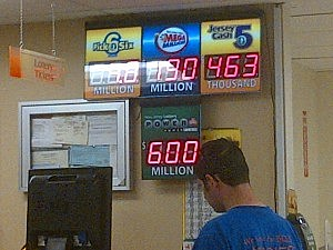 Sign displaying lottery jackpots at Stop & Shop in Pennington