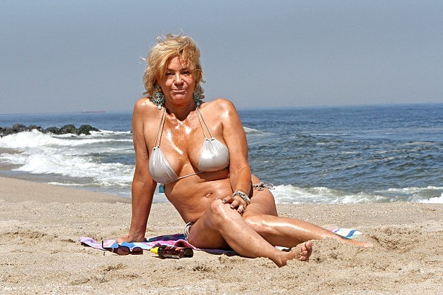 **EXCLUSIVE** Tanning Mom, aka Patricia Krentcil, hits the beach in a little silver bikini for a day under the sun in New Jersey