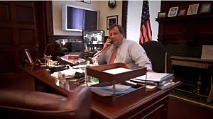 Screen shot of Christie re-election TV commercial