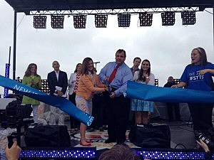 Governor Christie and wife Mary Pat cut a ribbon on NBC's stage