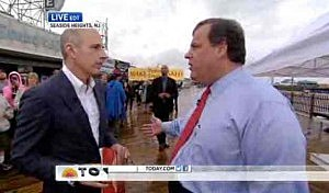 Governor Christie and Matt Lauer (L) on the Seaside Heights boardwalk