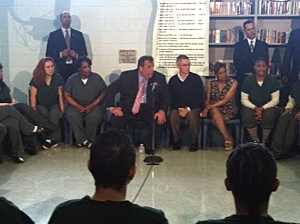 Governor Christie with former Governor Jim McGreevey at the Hudson County Jail