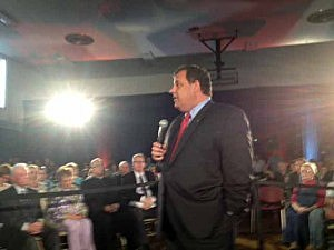Governor Christie announces his plan to buy flood prone homes at a town hall in Sayreville
