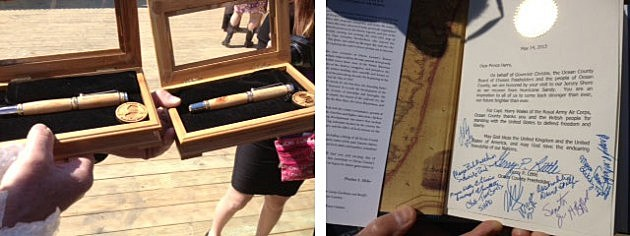 Prince Harry was presented with ceremonial pens and a signed copy of a book about the history of Ocean County