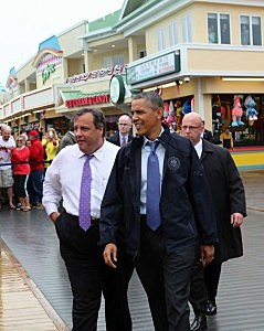 Governor Chirstie and President Obama on the Point Pleasant boardwalk