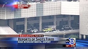 Police outside terminal at Houston's Bush Intercontinental Airport