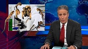 """Jon Stewart with """"Dr. Arachnid"""""""