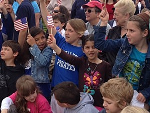 Local students watch the completion of Lavallette's new boardwalk
