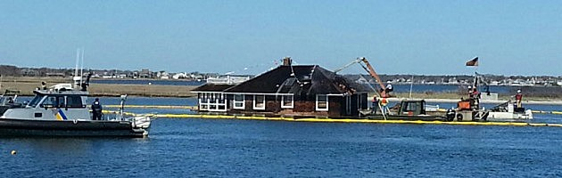 Home being removed from Barnegat Bay