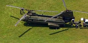 Helicopter after making an unscheduled landing near a Medford school