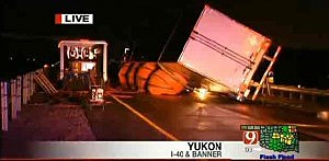 Tractor trailer knocked over by Oklahoma tornado