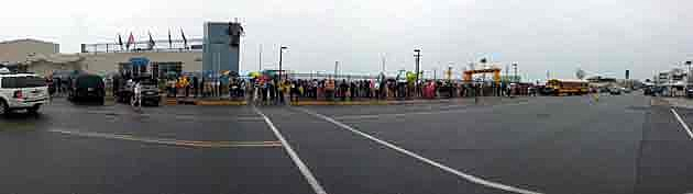 Panoramic view of the wait in line in Asbury Park