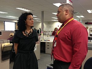 Department of Human Services Commissioner Jennifer Velez and NJ Hopeline Program Coordinator Terrell McCain