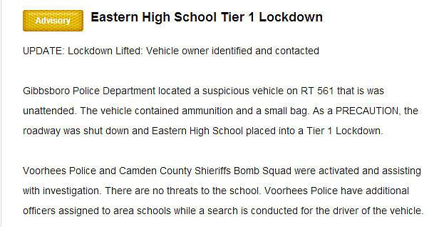 Updated lockdown message sent via Nixle by Voorhees Police