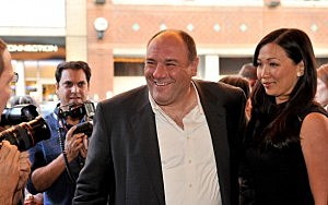 James Gandolfini (L) and wife Deborah Lin