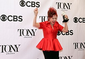 Composer Cyndi Lauper, winner of the award for Best Original Score (Music and/or Lyrics) Written for the Theatre 'Kinky Boots' poses in The 67th Annual Tony Awards