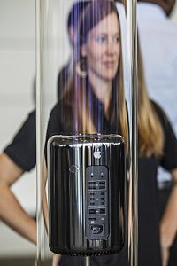 A new Apple Mac Pro sits on display during the 2013 Apple WWDC