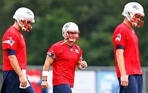Tim Tebow #5 (C)  at New England Patriots minicamp