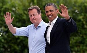 ritain's Prime Minister David Cameron (L) and President Barack Obama