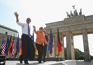 President Barack Obama, German Chancellor Angela Merkel and Berlin Mayor Klaus Wowereit depart after Obama spoke at Brandenburg Gate