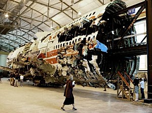 A 93-foot section of the TWA Flight 800 fuselage at the NTSB Academy in Virginia