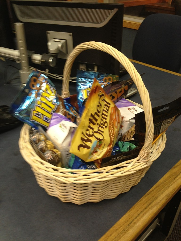 Dennis and Judi got an awesome gift basket