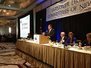 Governor Christie speaka at the Employer Legislative Committees State Dinner in Princeton