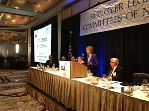 Barbara Buono (D), candidate for Governor, addresses the NJ Business and Industry Association dinner in Princeton