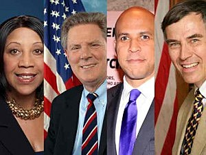 Special Senate Election Demorat candidates (L-R) Sheila Oliver, Frank Pallone, Cory Booker & Rush Holt