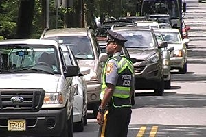 Princeton Police direct traffic during evacuation of Princeton University