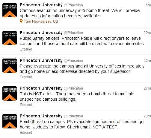 Princeton University evacuation tweets