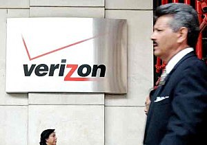 Outside Verizon's building in New York