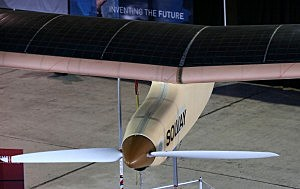 Solar panels sit on the wing of the Solar Impulse