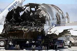 The wrecked fuselage of Asiana Airlines flght 214 sits in a storage area at San Francisco International Airport