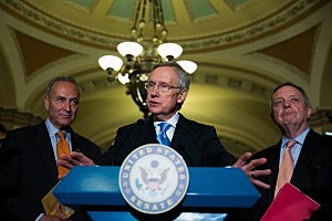 (L-R) Sen. Chuck  Schumer (D-NY), Senate Majority Leader Harry Reid (D-NV) and Sen. Dick Durbin (D-IL) speak to the media after Senate joint caucus meeting