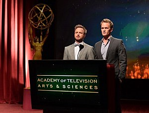 Actors Aaron Paul (L) and Neil Patrick Harris announce the nominees for the 65th Primetime Emmy Awards