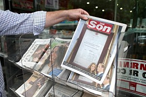 The tabloid Sun changes its name in celebration of the birth of the royal baby