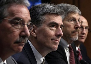(L-R) Deputy Attorney General James Cole, Deputy Director of the National Security Agency John Inglis, General Counsel in the Office of the Director of National Intelligence Robert Litt, and Deputy Director of the Federal Bureau of Investigation Sean Joyce