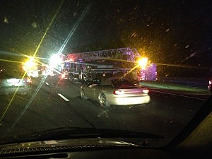 Fire truck at an accident on the Garden State Parkway near the PNC Bank Arts Center