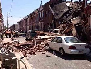 Street view of Philadelphia row home explosion