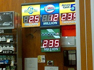 Powerball jackpot displayed at Shop Rite in Manchester